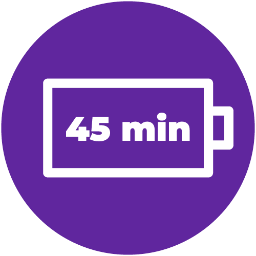Battery Icon with 45 min inside.