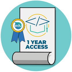 Graphic of paper with one-year access.
