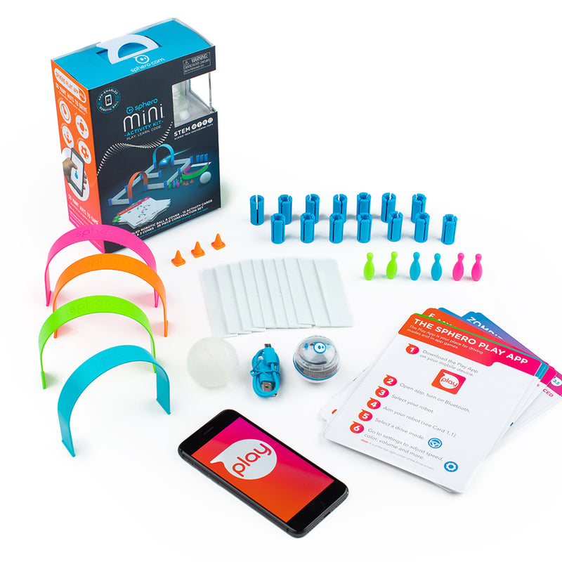 A display of what's included within the Sphero Mini Activity Kit.