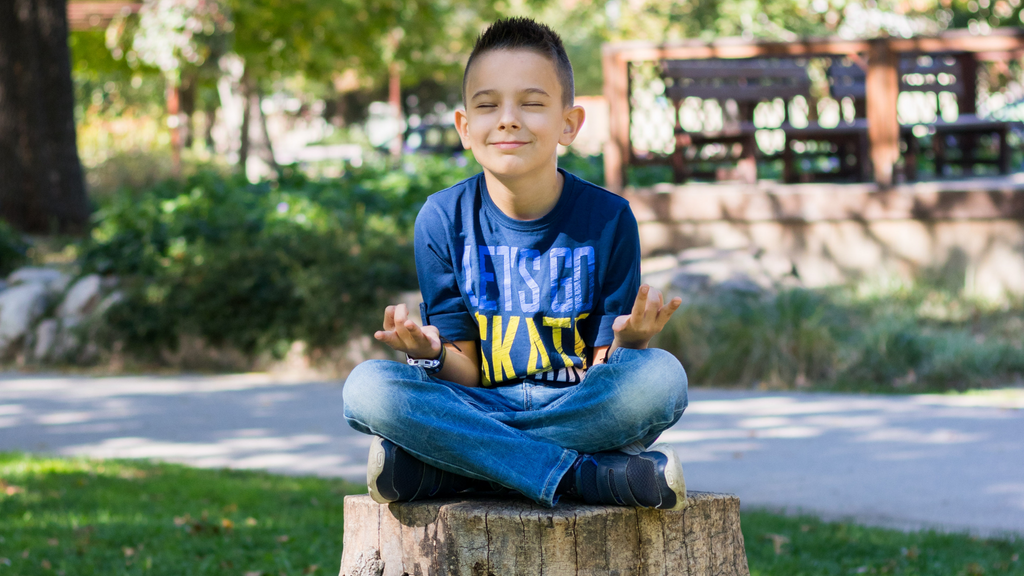 A young boy sits on a tree stump outside meditating in the sunshine.