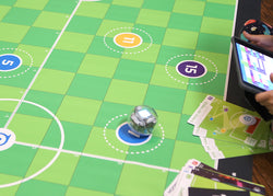 BOLT STEAM robot on soccer code mat.