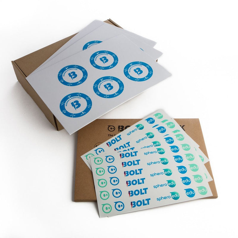 Sphero BOLT protractor and BOLT sticker sheets.
