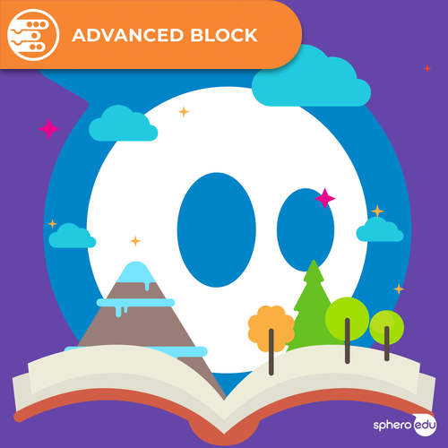 Illustration of Sphero logo with open book, trees, mountain and clouds.
