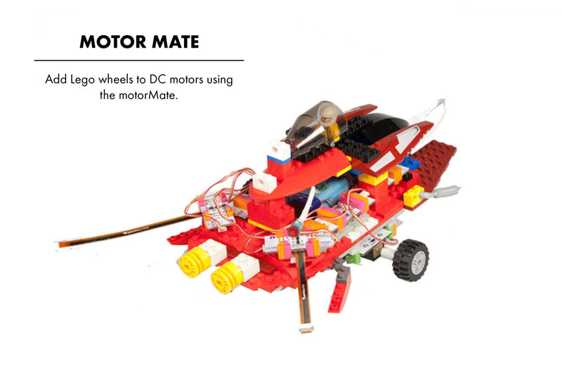 littleBits motorMate Lego creation.