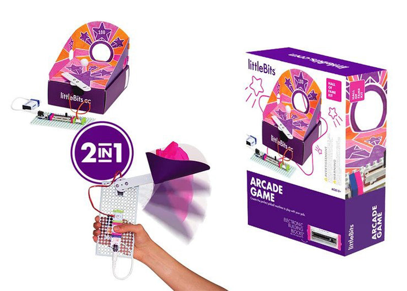 littleBits Arcade Game package, pinball machine invention, and throwing arm invention.