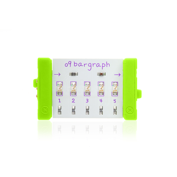 Green littleBits o9 bargraph.