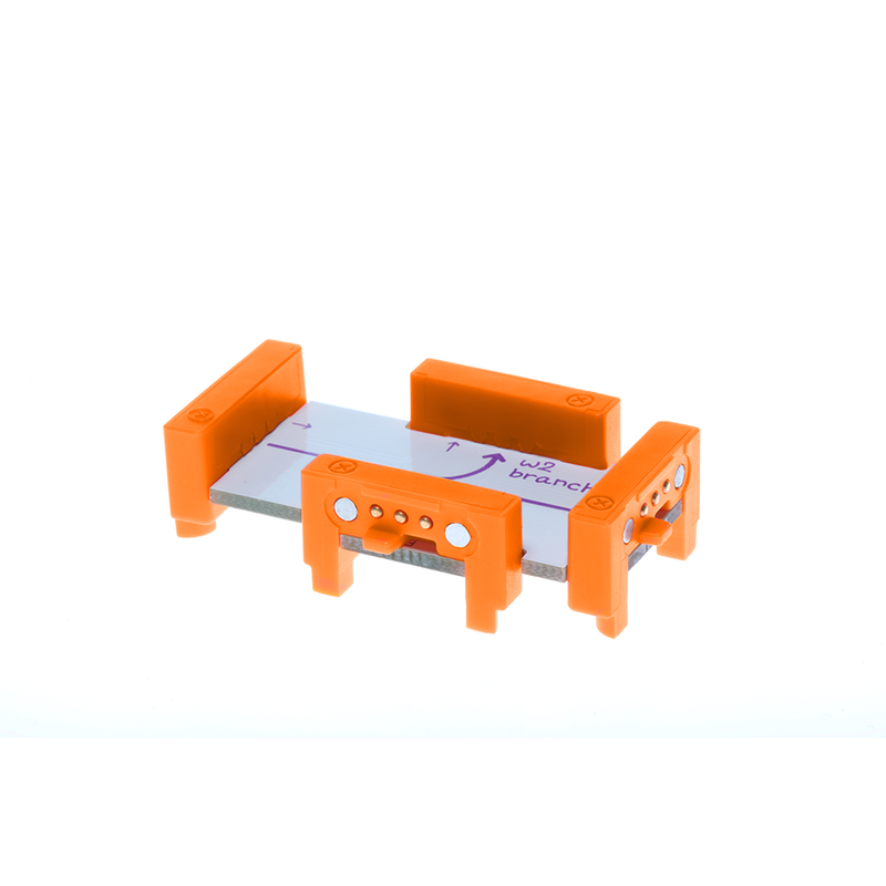 Orange littleBits w2 branch side view.