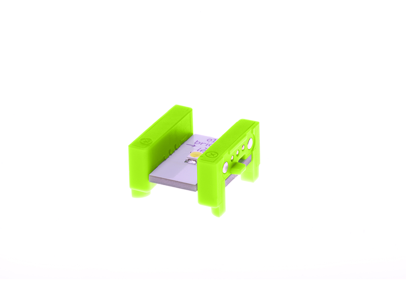 Green littleBits o14 bright LED side view.