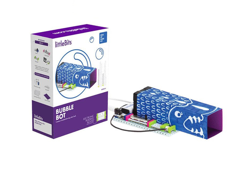 littleBits Bubble Bot Hall of Fame Starter Kit packing and product.
