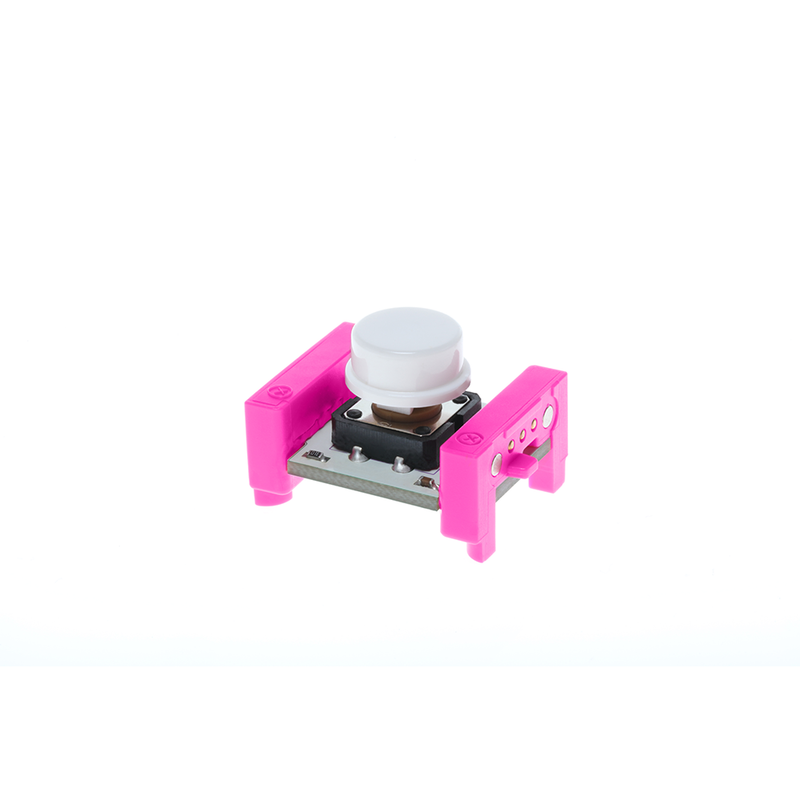 Pink littleBits i3 button side view.