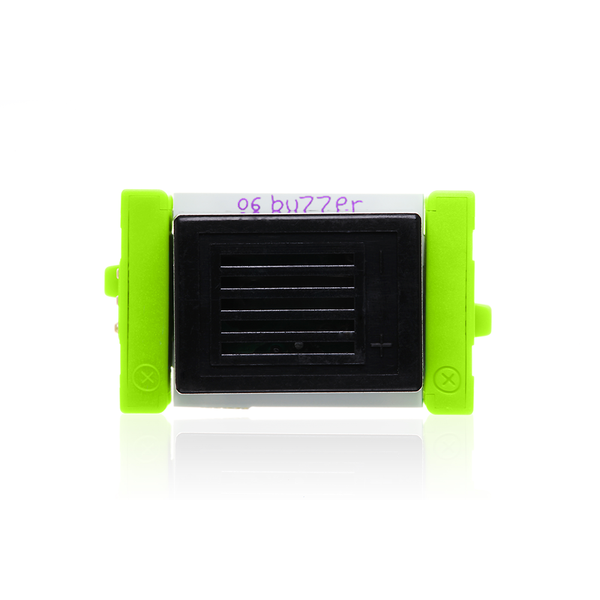 Green littleBits o6 buzzer.