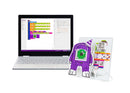 Laptop with block coding on it, with littleBits monster invention next to the laptop.