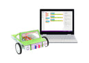 Laptop with block coding on it, with littleBits robotic car invention next to the laptop.
