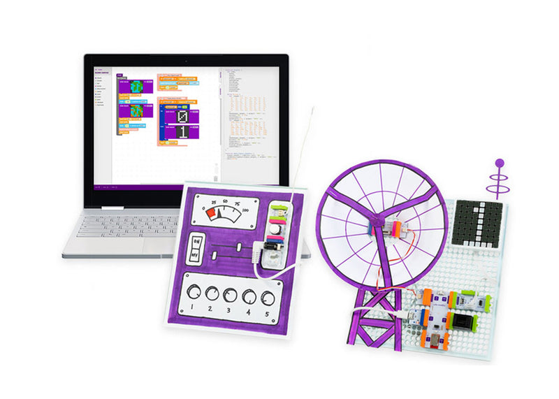 Laptop with block coding on it, with littleBits communication invention next to the laptop.