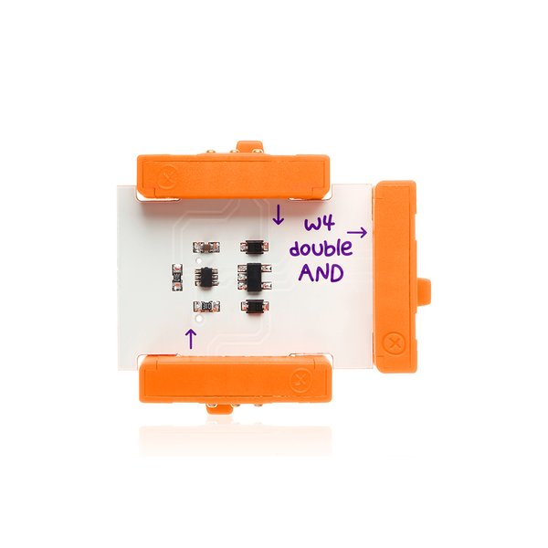 Orange littleBits w4 AND bit.