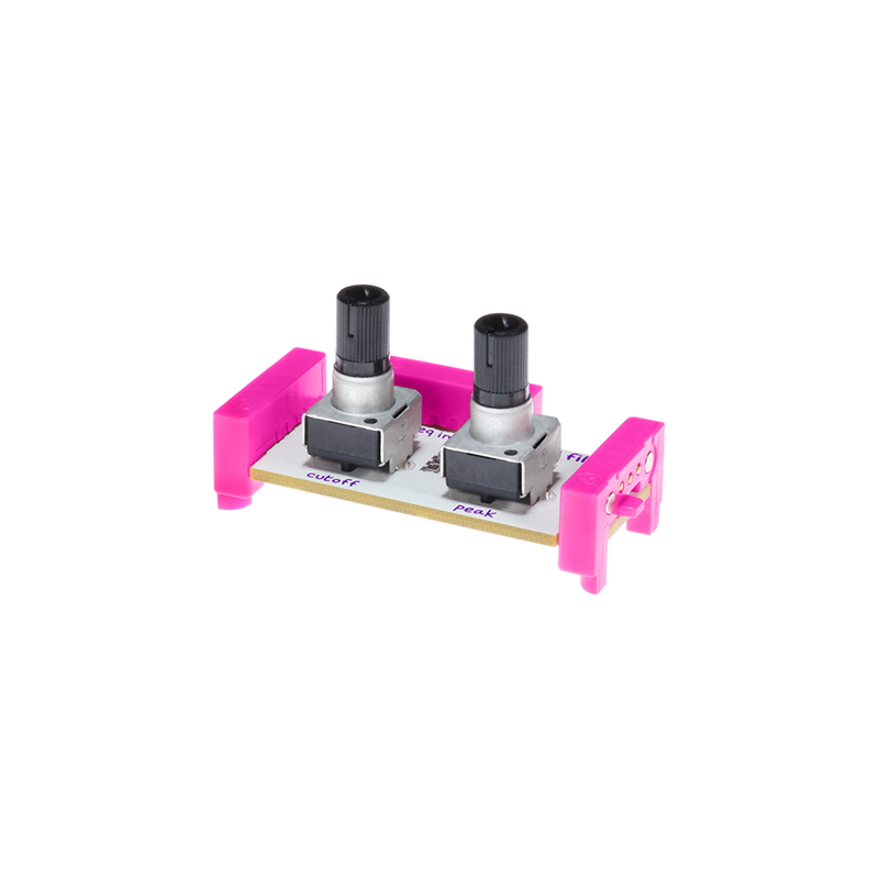Pink littleBits i32 filter bit side view.
