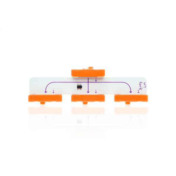 Orange littleBits w7 fork bit.
