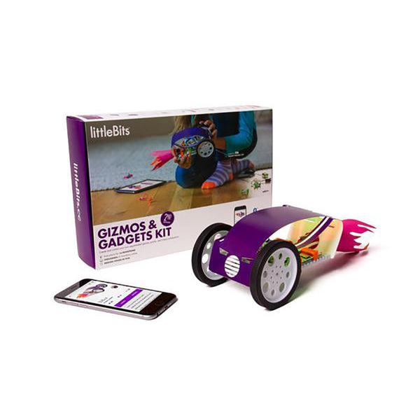 littleBits Gizmos and Gadgets Kit package with toy car invention.