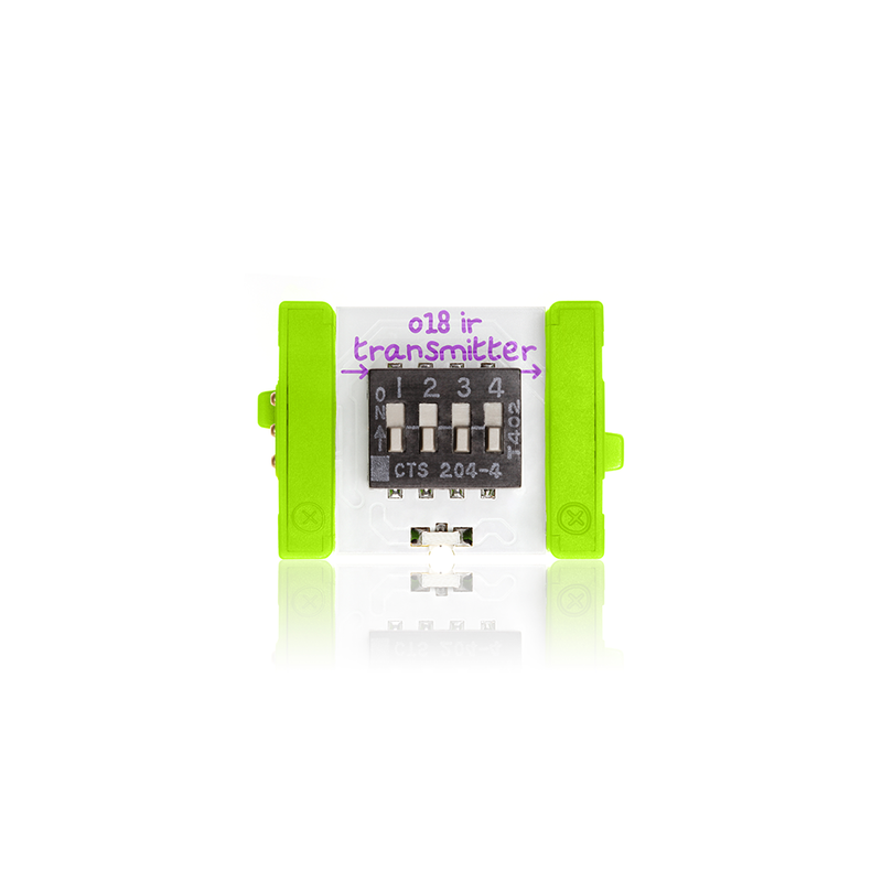 Green littleBits o18 IR Transmitter bit.