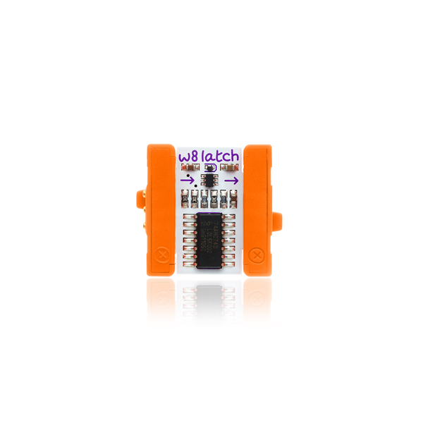 Orange littleBits w8 latch bit.
