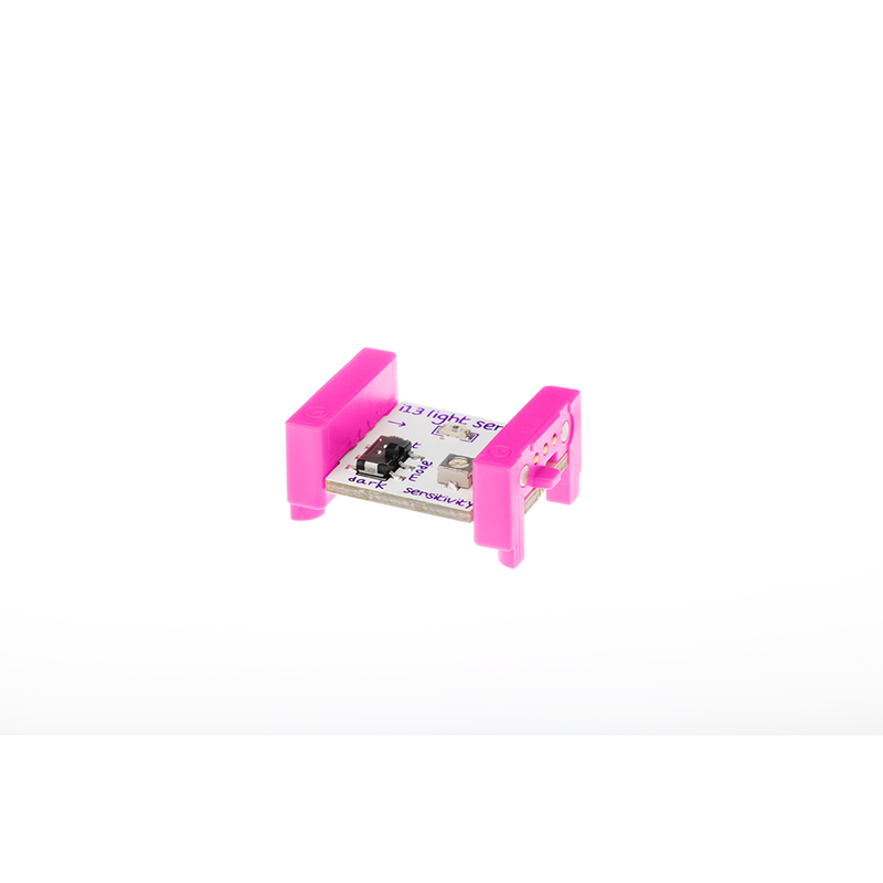 Pink littleBits i13 light sensor bit side view.