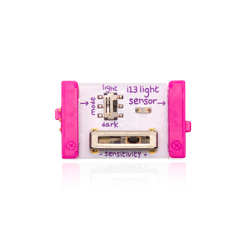 Pink littleBits i13 light sensor bit.