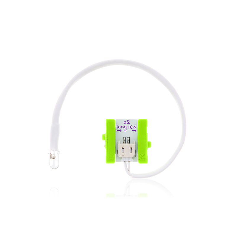 Green littleBits o2 long LED bit.