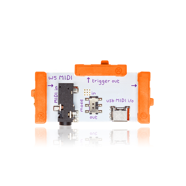 Orange littleBits w5 MIDI bit.