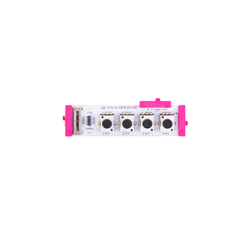 Pink littleBits i36 micro sequencer bit.