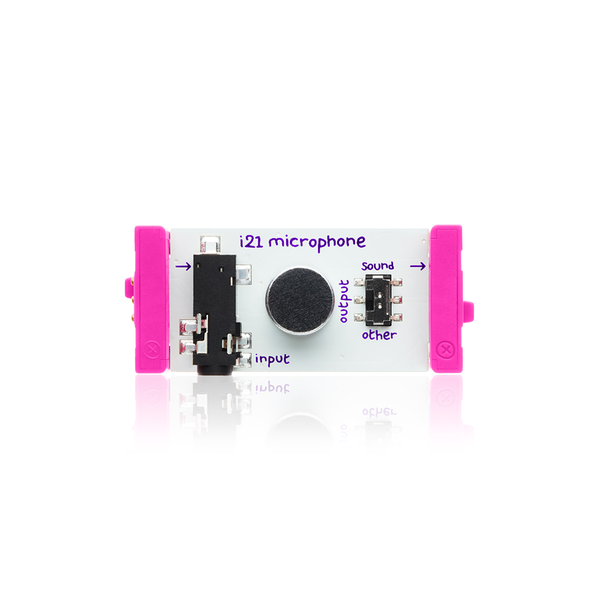 Pink littleBits i21 microphone bit.