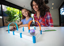 Daughter and mother playing Sphero mini STEM activity.