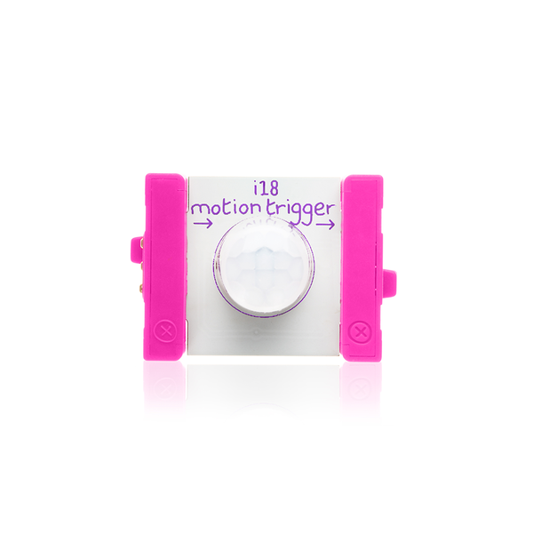 Pink littleBits i18 motion trigger.