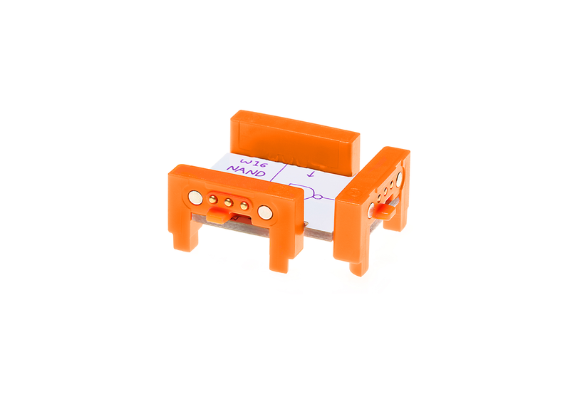 Orange littleBits w16 NAND bit side view.