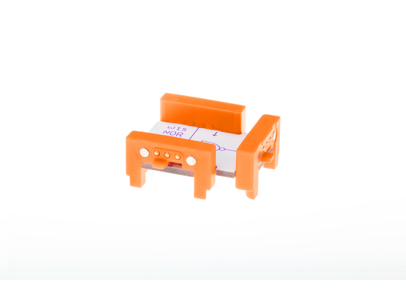 Orange littleBits w15 NOR bit side view.