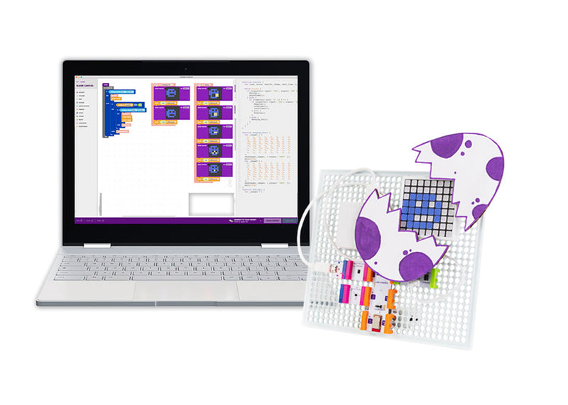 Laptop with block coding on it, with littleBits egg matrix invention next to the laptop.