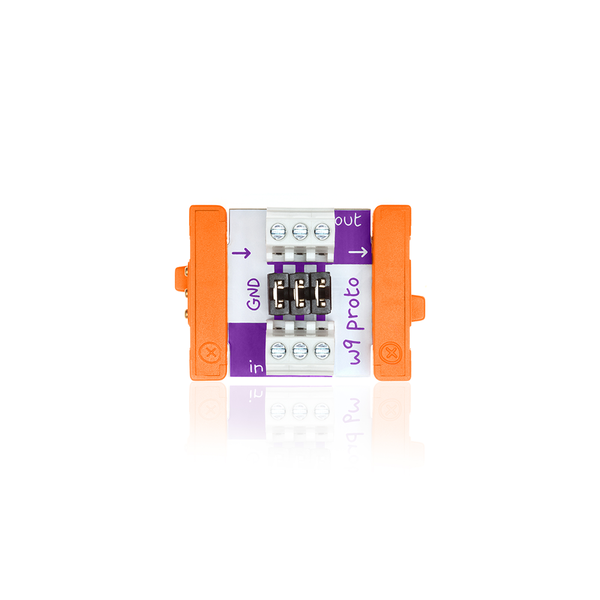 Orange littleBits w9 proto bit.
