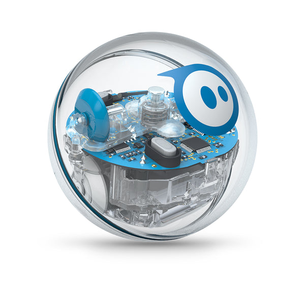 SPRK+ robotic ball with clear shell showing circuits and wheels.