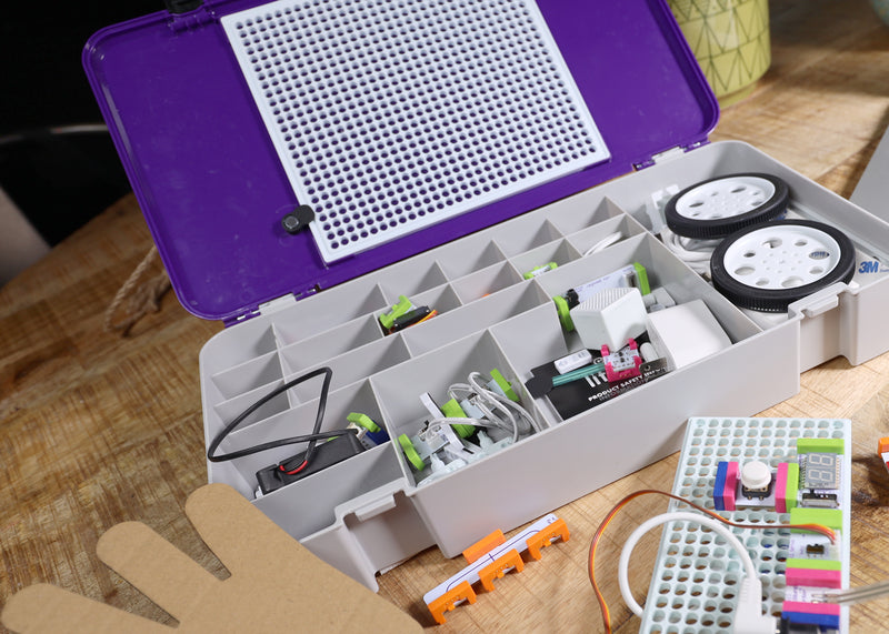 littleBits durable storage box with organized bits.