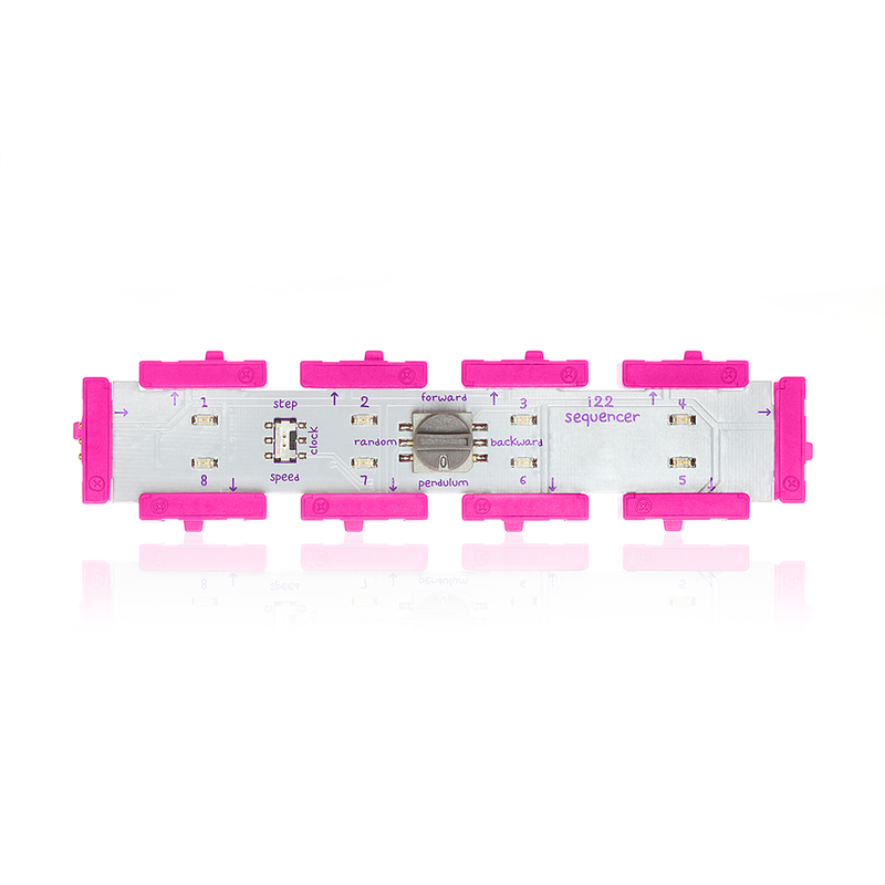 Pink littleBits i22 sequencer bit.