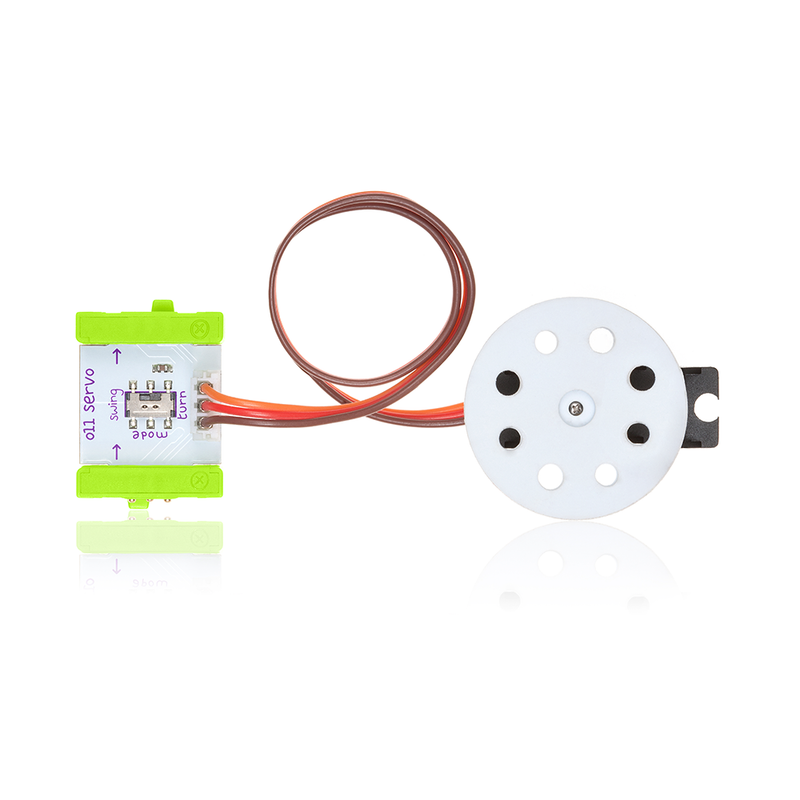 Green littleBits o11 servo hub mount bit.