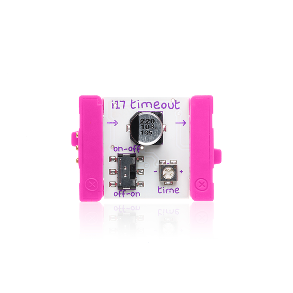 Pink littleBits i17 timeout bit.
