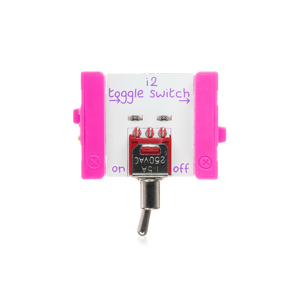 Pink littleBits i2 toggle switch bit.