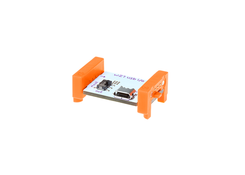 Orange littleBits w27 USB I/O bit side view.