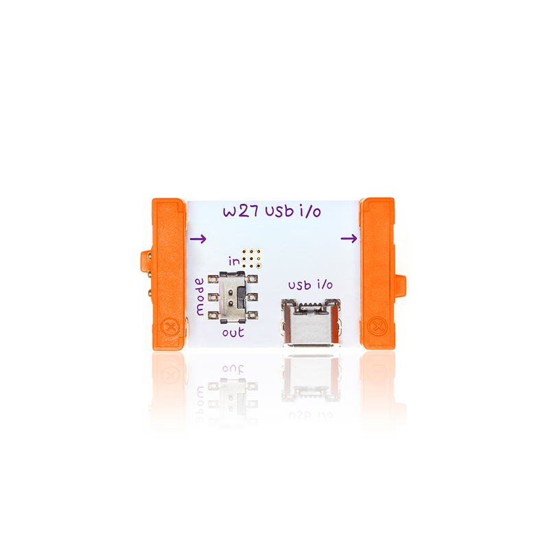 Orange littleBits w27 USB I/O bit.