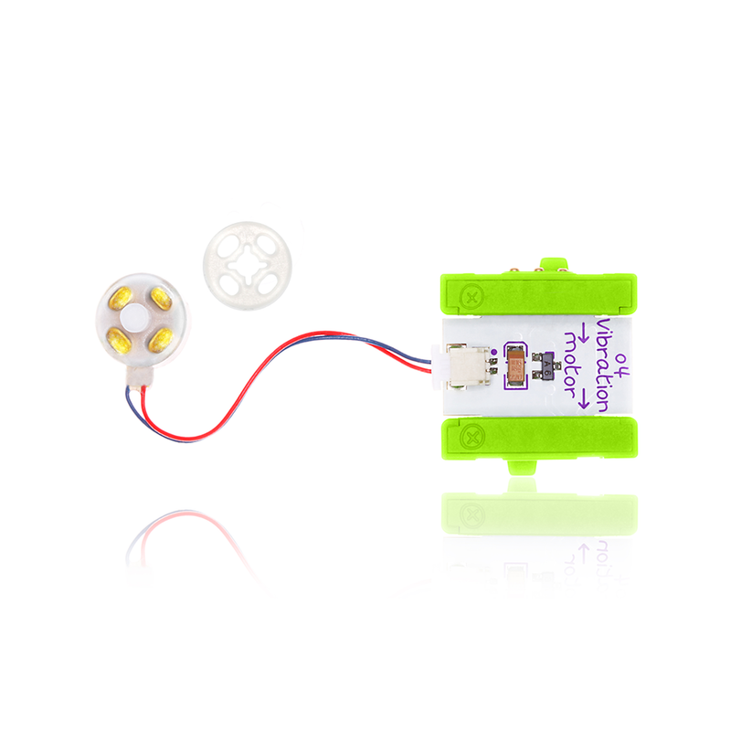 Green littleBits o4 vibration motor bit.