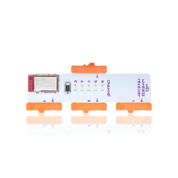 Orange five channels littleBits w21 wireless receiver bit.