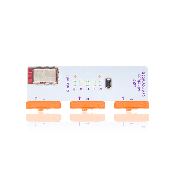Orange five channels littleBits w22 wireless transmitter bit.