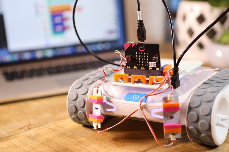 micro:bit invention mounted on RVR robot.