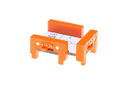 Orange littleBits w17 XOR bit side view.