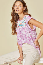 Moca Flutter Sleeve Embroidery Top